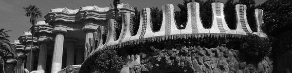 Detail of Park Güell. With the Hypostyle Room in the background